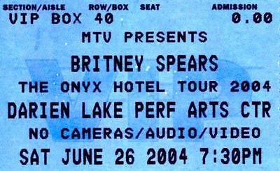 Britney Spears 2004 Onyx Hotel Tour Unused Ticket –Darien Lake Perf Arts Ctr, NY