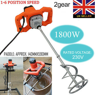 New 1800W Cement Mixer Concrete Hand Mixer Electric Putty Stirrer Single Paddle