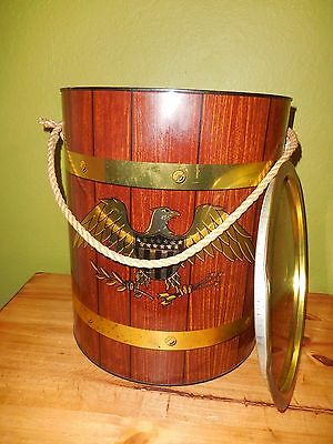 Vintage 1967 Prestige Huge Metal Ice Bucket Rustic Looking Eagle Rope Handle