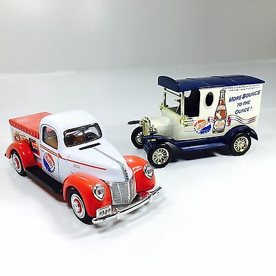 Pepsi Cola 2 Die Cast Trucks Antique Delivery Truck And Coin Bank Special Ed.
