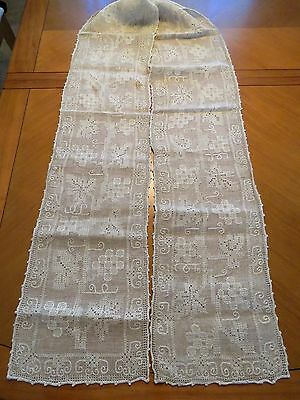 "Antique Table Runner Embroidered Linen Dresser Scarf 100"" x 10"" Taupe Embroidery"