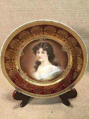 """Royal Vienna Hand Enameled Portrait Cabinet Plate of A Woman Amicitia 9.5"""""""