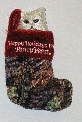 Fancy Feast White Cat In Stocking Ornament