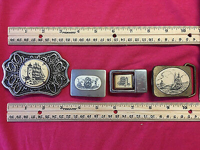Lot of 4 - Ship Schooner Lighthouse Belt Buckles:  Includes Silver / Brass etc