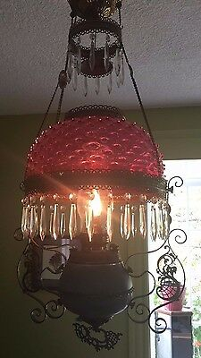 Antique Hanging Oil Parlor Lamp Cranberry Glass Crystals Converted Electricity
