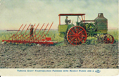 Rumely OilPull Tractor Turning Eight Fourteen Inch Furrows With Rumely Plows