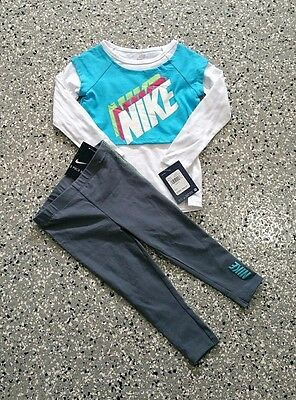 New Nike Kids Girls Graphic Long Sleeve T-Shirt & Leggings Outfit Set Size: 2T