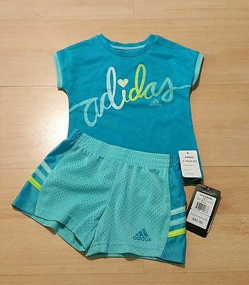 New Adidas Kids Toddler Girls Graphic T-Shirt & Shorts Pants Outfit Set Size: 2T