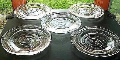 "5 Vintage Consolidated Glass 1930's CATALONIAN 8"" Luncheon Salad Plates Set of 5"