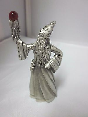Fantasy Figure Figurines FIRE Gallo Wizard Fine Pewter Excellent Red Bearded Hat