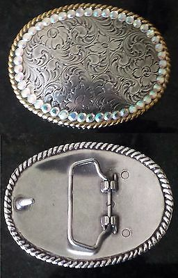 Womens Cowgirl Silver Floral Scroll Pattern Classic Oval Belt Buckle