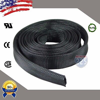 "25 FT. 1"" Black Expandable Wire Cable Sleeving Sheathing Braided Loom Tubing US"