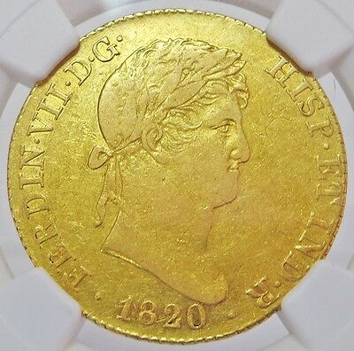 1820 M Gj Gold Spain 4 Escudos Ferdinand Vii Madrid Mint Ngc Extremely Fine 40