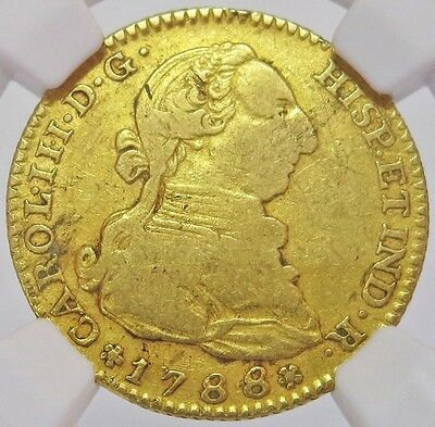 1788 M M Gold Spain 2 Escudos Charles Iii Coin - Madrid Mint - Ngc Very Fine 35