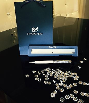 Swarovski set Crystal white silver Pen With Velvet Pouch, Gift box and bag