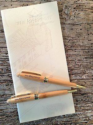 NEW The Balvenie Scotch Whisky Wooden Etched Pens, Set of 2 Plus Tasting Booklet