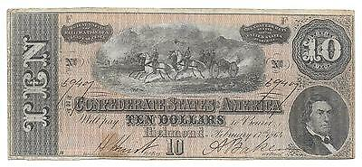 $10.00 (T-68) Piece of Confederate Paper Money Dated - Feb. 17th 1864