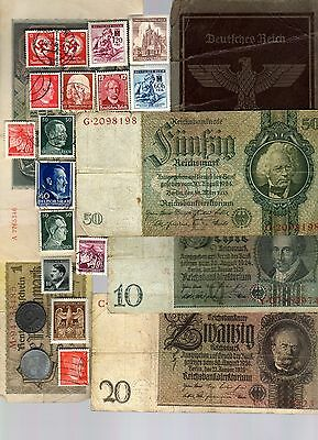 Nazi Germany Banknote, Coin, Document And Stamp Set   * E *