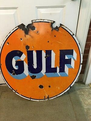 """30"""" Porcelain Gulf Gas Oil Advertising Sign  Double Sided"""