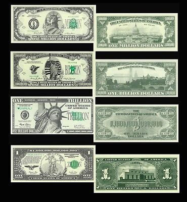 4 Note Set- Million Billion Trillion Zillion Novelty Dollar Bills