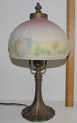 Antique Reverse Painted Puffy Lamp / Cameo Female Images Circa 1920's Works