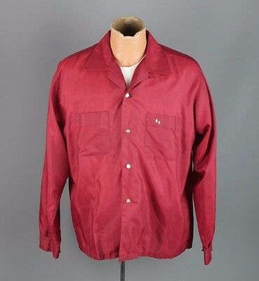 Vtg Men's 60s Signature Fashion  Loop Collar Shirt sz L 1960s #2830