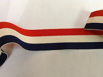 "10 Yards 1 1/2"" VINTAGE ANTIQUE Red White Blue Stripe Grosgrain Ribbon FRENCH"