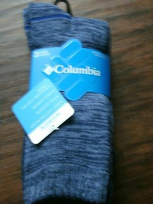 Nwt Womens 2 Pair Columbia Brand Blue Crew Socks Shoe Size 4-10