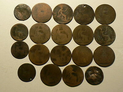 """Britain, Lot Of 19 Copper """"Smoothies"""" Mainly Victorian  #G3728"""