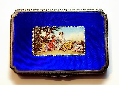 Antique Guilloche Sterling Silver and Cobalt Blue Enamel Snuff Box