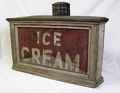 Antique Oil Lamp Ice Cream Sign Wood Cloth and Glass