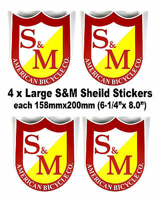 4 x S&M BMX Shield Stickers Large (Red) S and M Bikes