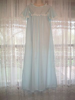 VINTAGE  70s FIGURFIT LONG SOFT BLUE COTTON EYELET NIGHTGOWN~SUMMER GOWN~S/M~