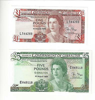 Gibraltar 1 Pound And 5 Pounds  Pair 1988   Pair Nice Unc