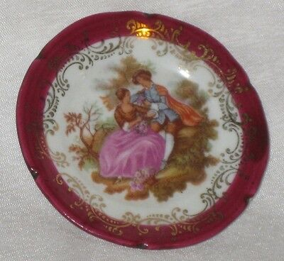 Limoges France Porcelain Miniature Plate & Stand Courting Couple Maroon Border