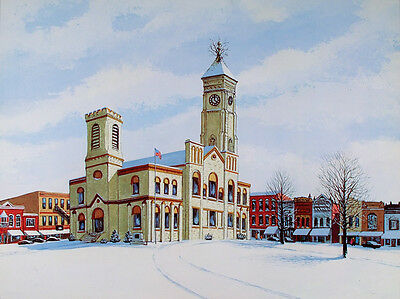 VINTAGE Greensburg Indiana POSTER Print COURTHOUSE TREE Winter W. HAROLD HANCOCK