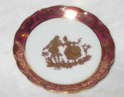 Limoges France Porcelain Miniature Plate & Stand Courting Couple White & Maroon