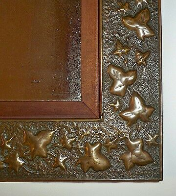 1910's Arts & Crafts Hammered & Tooled Copper or Brass Frame Mirror w/ Ivy Motif