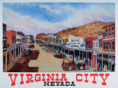 VINTAGE Original VIRGINIA CITY Nevada TRAVEL POSTER Art Print WESTERN Reno MINT