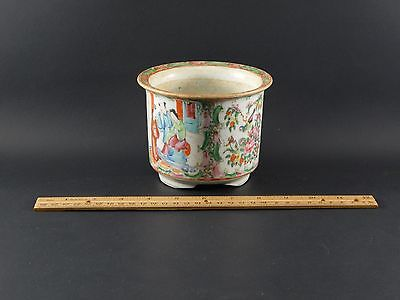 Rare Antique Chinese Export Rose Medallion Cache Pot Planter Jardiniere 4 x 5""
