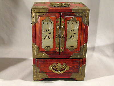 Vintage ANTIQUE CHINESE WOOD & BRASS WITH JADE PANELS - JEWELRY BOX
