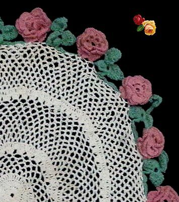Vintage Round Hand Crochet Lace Doily Floral Pink Irish Roses Green Leaves Cream