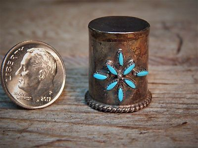 Vintage Sterling Silver Turquoise Old Thimble