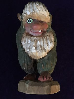 "Vintage Henning Norway Hand Carved Wood Shy TROLL 7-1/2"" Tall"