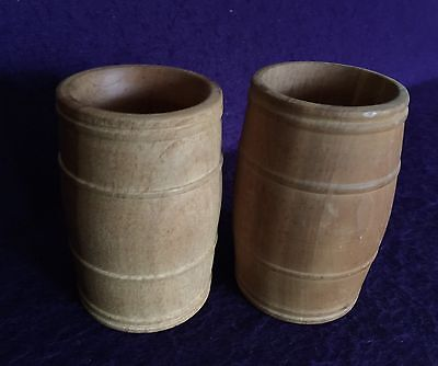 """2 Vintage Primitive Hand Routed Small WOODEN BARRELS -signed & dated-4 3/4"""" Tall"""