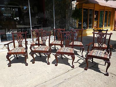 Grand Set of Eight Mahogany Ball & Claw Dining Room Chairs 20thc.