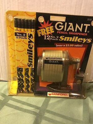 Sanford 51131 Giant Pencil Sharpener With 12 No.2 Smileys Pencils/ Brand New