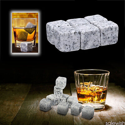 6 Pcs Whisky Ice Stones Wine Drinks Cooler Cubes Whiskey Rocks Granite Pouch HK