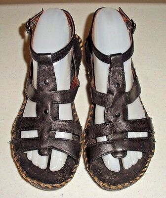 Women's ARIAT Black Leather Wedge Ankle Strap Sandals Shoes Size: 8