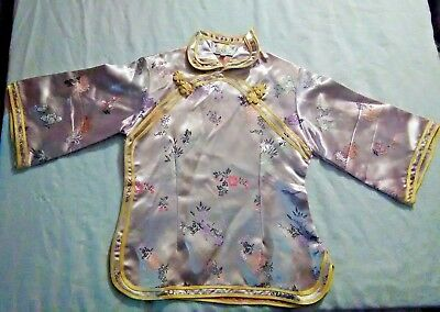Vtg Golden Dragon Chinese Pink Kimono Silk Embroidered Phoenix Sz 10 Girls